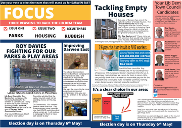 Darwen East Focus Leaflet April 2021